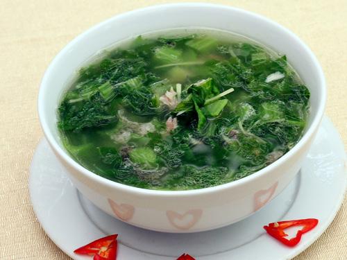 Canh cải bẹ xanh cá rô đồng